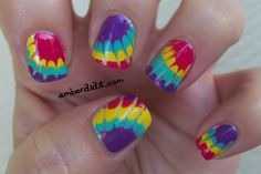 Tie Dye Nails AND a Tutorial :: Just did this to my nails, I love them and it was super easy! Teen Nails, Nails For Kids, Tie Die Nails, Cute Nails, Pretty Nails, Hair And Nails, My Nails, Crazy Nails, Nail Tutorials