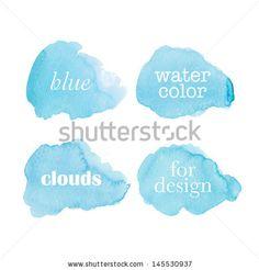 Beautiful watercolor clouds. Vector illustration - stock vector