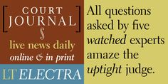 Electra Font: Designed in 1935 by William Addison Dwiggins, Electra has been a standard book typeface since its release because of its evenness of desig. Live News, Premium Fonts, Font Family, Cool Fonts, Graphic Design Typography, This Or That Questions, Desktop, Serif, Type