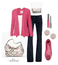"""""""Pink for Spring"""" by alttra ❤ liked on Polyvore featuring Coach, Hudson Jeans, Fat Face, Tory Burch, By Terry and Dana Rebecca Designs"""