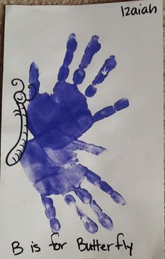 A hand-print butterfly made by Izaiah, 3 years old Art My Kid Made K Crafts, Daycare Crafts, Preschool Crafts, Diy Crafts For Kids, Handprint Butterfly, Handprint Art, Butterfly Art, Butterflies, Fingerprint Art