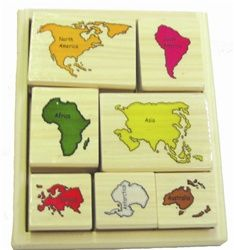 JMP Learning - JS-3168-1, Continent Stamps Classroom Materials for Montessori and Preschool Early Childhood Education - jmplearning.com