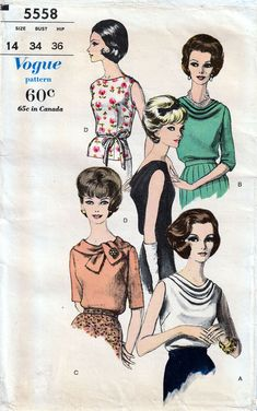 Vogue 5558 Vintage c1962 Blouses w/ Bias Front or Back Cowl Neck-Lines SZ 14 #Vogue #Vogue Neck Lines, Vogue Sewing Patterns, Cowl Neck, Blouses, Vintage, Polo Neck, Blouse, Primitive, Sweatshirt