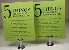 5 things you should know about the bride / groom. Cute idea for reception tables.