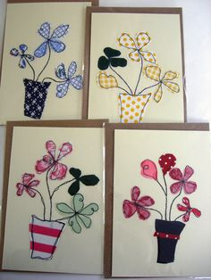 I like the simple flow of lines - would look good as raw edge applique. Freehand Machine Embroidery, Free Motion Embroidery, Free Machine Embroidery, Free Motion Quilting, Sewing Appliques, Applique Patterns, Applique Quilts, Applique Designs, Fabric Postcards