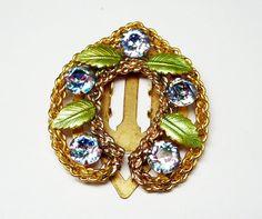 New Listings Daily - Follow Us for UpDates -  Merry Christmas Sale - 20% off Enamel & Rhinestone Horsehoe Brooch - Dress Clip - #Vintage Glass Rhinestones -  Iris Striped - Green Sparkling Enamel Leaves - 1940's Vintage... #vintage #jewelry #teamlove #etsyretwt #ecochic #horseshoe #thejewelseeker ➡️ http://etsy.me/2ihnxOA