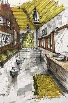Green Interior Design - All About Decoration Interior Architecture Drawing, Interior Design Renderings, Drawing Interior, Interior Rendering, Interior Sketch, Green Interior Design, Interior And Exterior, Architecture Design, Rendered Houses