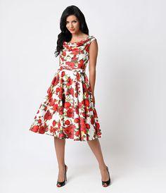 1950s Red  White Rose Belted Fleur Swing Dress $138.00 AT vintagedancer.com