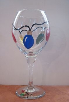 Hand Painted Christmas Lights Wine Glass by KAMPaintingandDesign, $18.00
