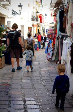 Narrow Shopping Streets of Marbella Old Town, Andalucia, Spain