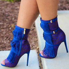 Multi Abstract Fringe Booties