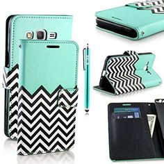 Galaxy Grand Prime Case, RANZ® Stylish Design Deluxe PU Leather Folio Flip Book Wallet Pouch Case Cover (Teal Waves) For Samsung Galaxy Grand Prime G5308 / G530H with Touch Stylus, http://www.amazon.com/dp/B0106YHXLI/ref=cm_sw_r_pi_awdm_-IHVvb0PE65GH