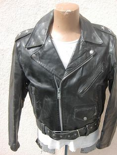 Amazing 1950s Two Star Horsehide Motorcycle Jacket - L - 42R with Original Belt! - http://www.gezn.com/amazing-1950s-two-star-horsehide-motorcycle-jacket-l-42r-with-original-belt.html