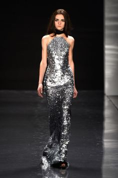 Shimmery Silver dress at Kaufmanfranco Fall 2013 Collection at Mercedes – Benz New York Fashion Week. Photos provided by Frazer Harrison/Getty.