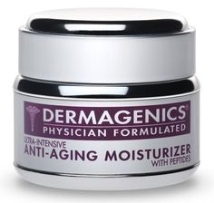 Ultra-Intensive Anti-Aging Moisturizer with Peptides by Dermagenics. $85.00. Increases Collagen to Firm and Tone. Dramatically Reduces Fine Lines and Wrinkles. One Product for Face, Neck, and Around Eyes. Contains Advanced Peptides and Antioxidants. pH Balanced, Hypoallergenic, and Non-Comedogenic. Hydrates and Nourishes for Softer, Smoother Skin. Dermagenics dramatically reduces the appearance of fine lines and wrinkles wherever they occur: forehead, between brows,...