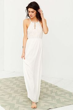 $90 Kimchi Blue Embroidered Bodice Halter Maxi Dress - Urban Outfitters