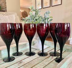 Set of Six Mikasa Elegance Elegant Plum Water Goblet or Large Wine Glasses Amethyst Purple Plum TYCAALAK