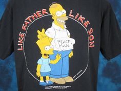 vintage 80s THE SIMPSONS HOMER & BART SIMPSON T-Shirt LARGE tv show cartoon 90s #GraphicTee