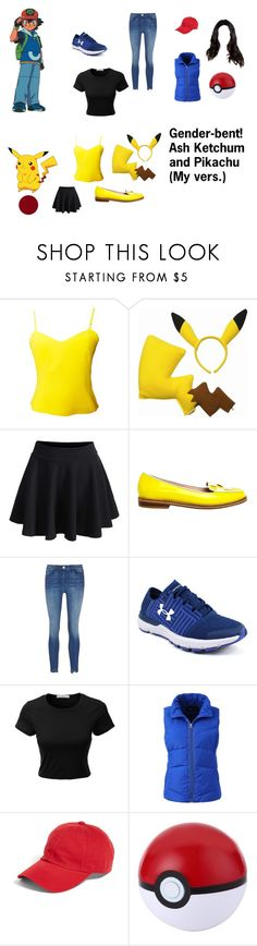 """""""Gender-bent! Ash Ketchum and Pikachu (My vers.)"""" by i-love-cake3 ❤ liked on Polyvore featuring Versus, WithChic, Opening Ceremony, 3x1, Under Armour, LE3NO, Lands' End, American Needle and Kevyn Aucoin"""