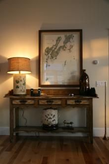 Maine - antique map of area displayed above family antique
