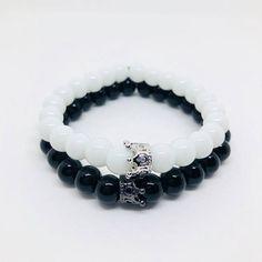 Royal Crown Couples Bracelet Set. Long Distance Bracelets. Friendship Bracelets. Matching Bracelet Set. Black and White Couples Bracelets.
