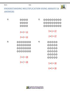Convert the arrays into multiplication facts.