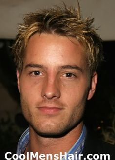 Picture of Justin Hartley short spiky hairstyle.