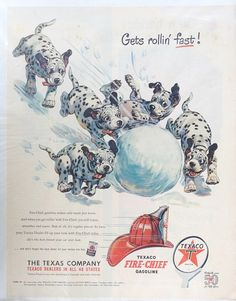 1952 Dalmatian dog Fire Chief gasoline Texaco Oil advertisement. Full page magazine ad. Adorable illustration. Smaller mentions of Milton Berles television show and Havoline oil. Fabulous collectible! In excellent condition. Measures 14 inches tall by 10 inches wide. Would look beautiful framed. This is an exceptional gift for someone who loves Dalmatians or for someone who collects vintage items relating to cars.