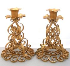 Metal Candle Stick Holders, One Pair, Wrought Iron, Gold Color, Curlicue Design…