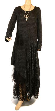 Absolut Beautiful Asymmetric Black & Grey Stripe Dress With Pattern Detail-Absolut, lagenlook, womens plus size UK clothing,