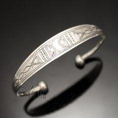 Bijoux Touareg Ethniques Bracelet en argent large Gravé Homme/Femme 31