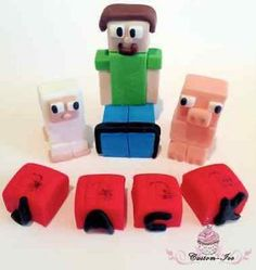 Minecraft Cake Toppers - Shop Minecraft Cake Toppers Online Themed Birthday Cakes, Themed Cupcakes, Fun Cupcakes, Birthday Cake Toppers, Birthday Cupcakes, Cupcake Toppers, Birthday Parties, Minecraft Cake Toppers, Minecraft Cupcakes