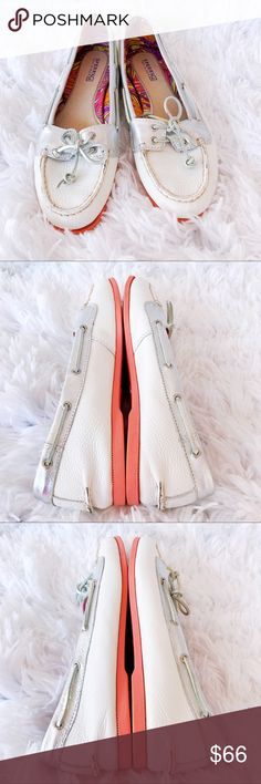 Sperry Leather Top-Siders In White & Silver In pretty good condition.  A few scuffs see picture with red circles, has been discounted as a result.  Super comfy can walk for days in these! Sperry Shoes Flats & Loafers