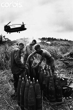 """11 Apr 1968, Vietnam --- On """"Hill Timothy"""", preparations are made for an attack against the Vietcong. --- Image by © Hulton-Deutsch Collection/CORBIS"""