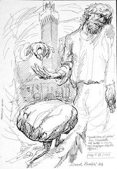 Purgatorio, Canto XI, Oderisi da Gubbio (circa 1240 - 1299) was een Italiaanse schilder en miniaturist van de 13e eeuw. Er zijn maar weinig details van zijn leven bekend. Oderisi werd door Dante in het vagevuur vermeld.   Hij herkent Dante, ze spreken over de ijdelheid   van  kunstenaars en de korte duur van roem.  Oderisi bevestigt dat ijdelheid hem  hier bracht.  Raoul Perazzi