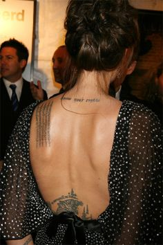"""Angelina Jolie's """"know your rights"""" tattoo is by far my favorite celebrity tattoo."""
