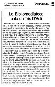 Tris d'arti in BMT, 2014. Articolo Quotidiano del Molise