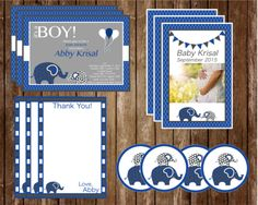 It's A Boy Elephant Theme Baby Shower Invitation and Kit