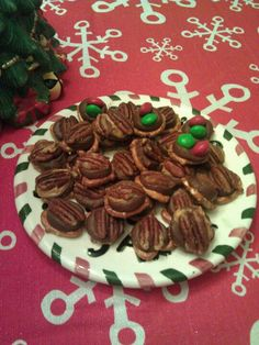 Pretzels, peanut butter, Rolo, and pecan or m's