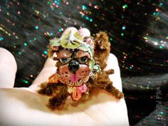 SALE  Cute Little Pekingese dancing dog OOAK brooch by WildPearly, $18.00