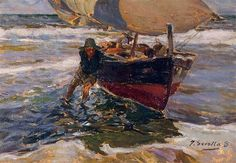 Beaching the Boat (study) - Joaquín Sorolla - Completion Date: 1908