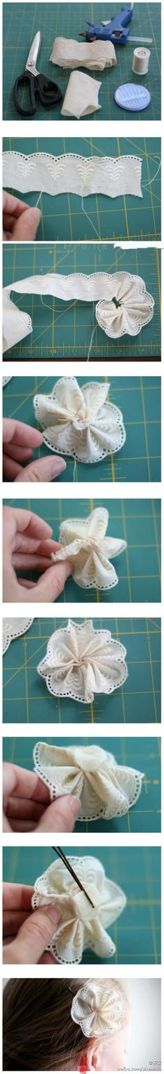 I'd like to make a garland of these lace & eyelet flowers!