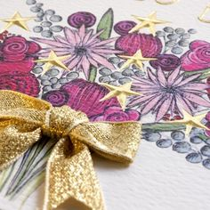 Handmade Gold Ribbon and Flowers 80th Birthday Card