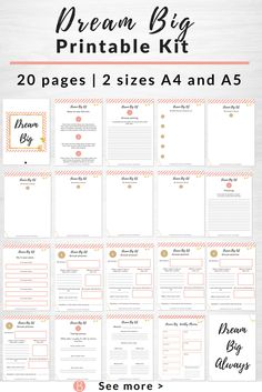 Dream Big Printable Kit  2 sizes included A5 and A4  Use this printable planner to dream big and make amazing changes in your life.  This kit will help you plan out what your big dreams are and help you take action towards making them a reality.  You can change your life and this kit will help you take action each day towards your dreams.