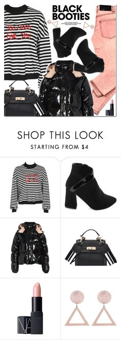"""""""Black Booties"""" by oshint ❤ liked on Polyvore featuring Cheap Monday, Moncler, NARS Cosmetics, cool, fabulous, wonderful, blackbooties and gamiss"""