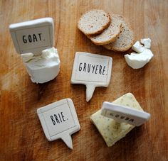 handmade cheese markers set of 4 by nelledesign.