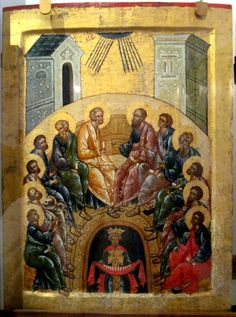 Pentecost Icon, Kirillo-Belozersk Monastery (c.1497)The Icon for the feast of Pentecost is also called the Descent of the Holy Spirit, as it is a depiction of the event described in the Book of Acts (Acts 2:1-4) when the Holy Spirit descended as tongues of fire upon the Apostles gathered together and enabled them to preach in different languages.