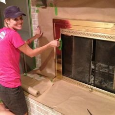 How to Paint a Brick Fireplace {Painting}