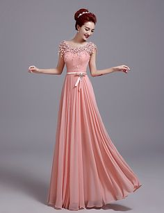 Formal Evening Dress Sheath / Column Jewel Floor-length Lace with Bow(s) / Lace 4911584 2017 – $59.99