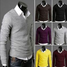 US$ 13,83+ free shipping! Elegante V-Cuello Cuello alto que basa la camisa del suéter de punto para hombres